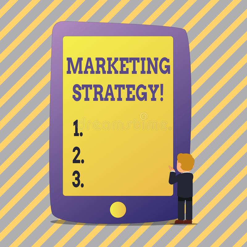 Signe des textes montrant la stratégie marketing Organisation pour la recherche conceptuelle de créativité de formule de plan de  illustration stock
