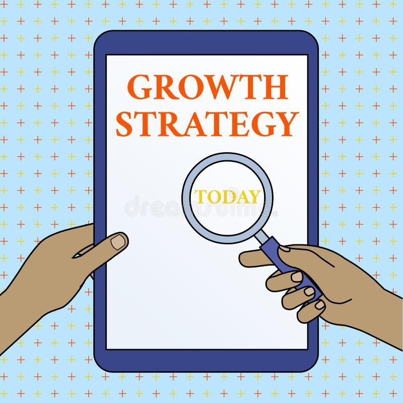 Signe des textes montrant la strat?gie de croissance Stratégie conceptuelle de photo visée gagnant une plus grande part de marché illustration libre de droits