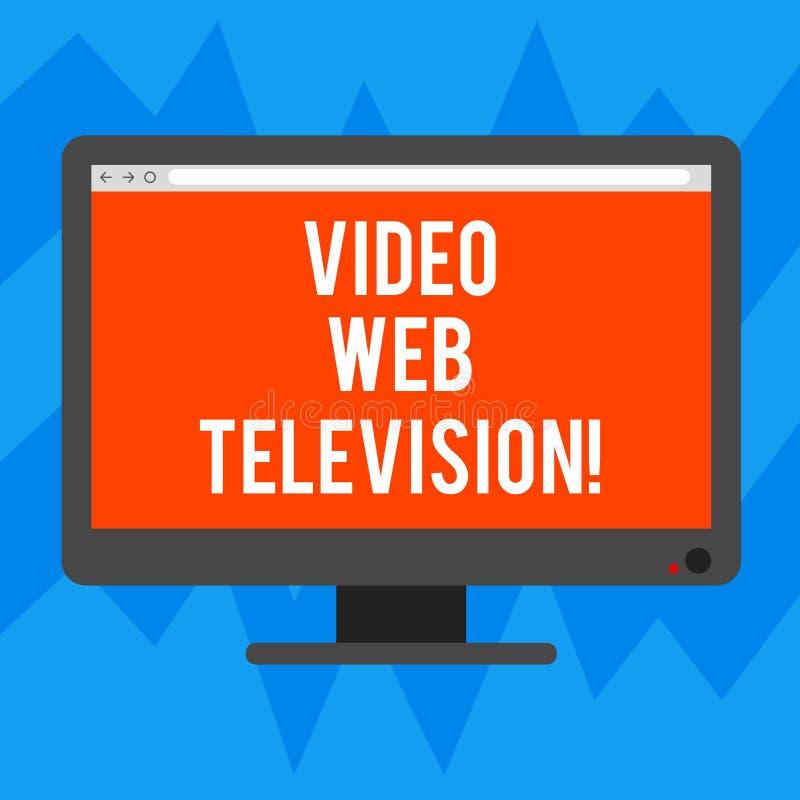 Signe des textes montrant la télévision visuelle de Web Les programmes télévisés conceptuels de photo ont accueilli sur le canal  illustration libre de droits