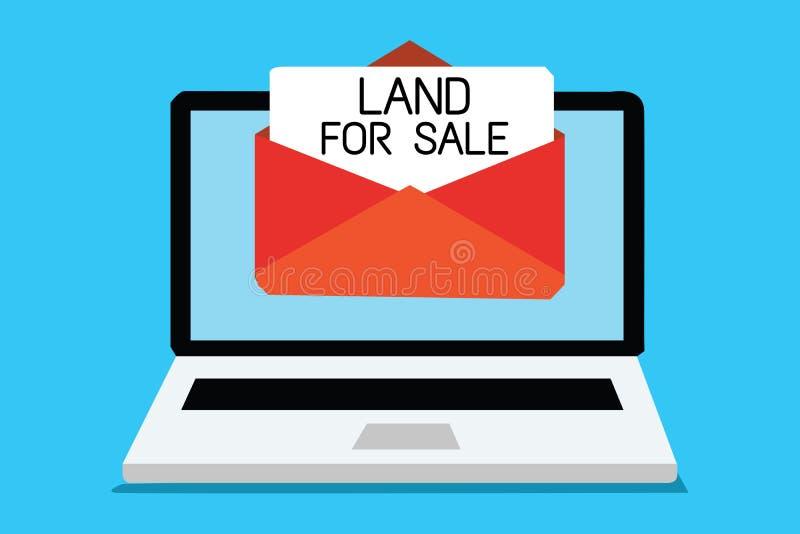 Signe des textes montrant la terre à vendre La photo conceptuelle Real Estate divisent en lots vendre l'ordinateur d'investisseme illustration stock