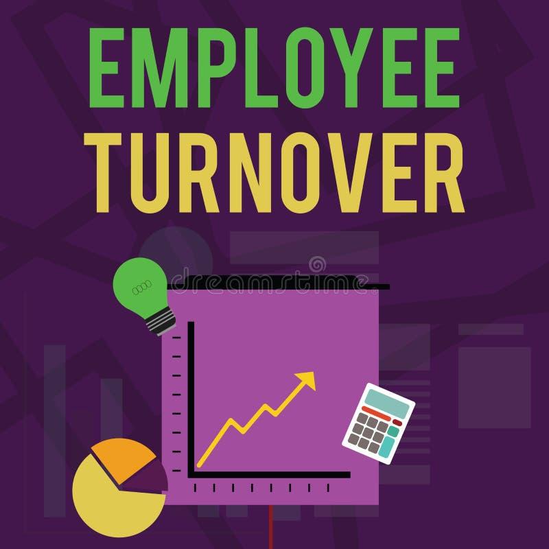 Signe des textes montrant le chiffre d'affaires des employ?s Nombre de photo ou pourcentage conceptuel des travailleurs qui laiss illustration stock