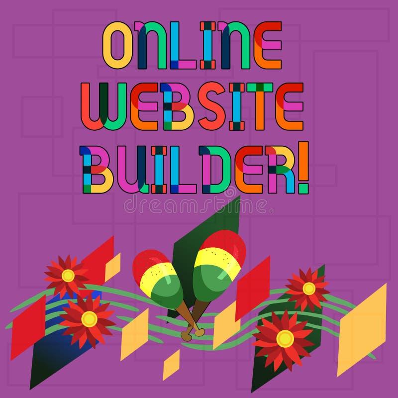 Signe des textes montrant le constructeur en ligne de site Web Programme conceptuel ou outil de photo qui vous aident à construir illustration de vecteur