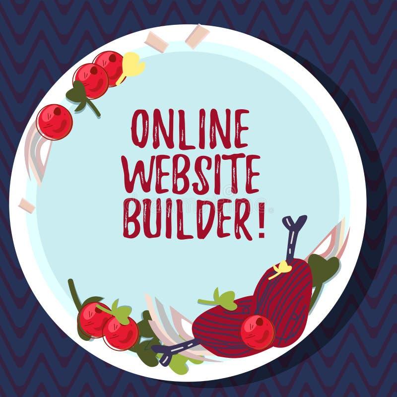 Signe des textes montrant le constructeur en ligne de site Web Programme conceptuel ou outil de photo qui vous aident à construir illustration stock