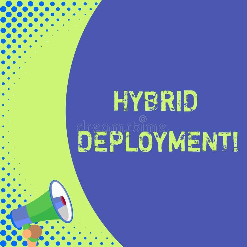 Signe des textes montrant le d?ploiement hybride Photo conceptuelle une combinaison des applications d'onpremises ou du demi blan illustration stock