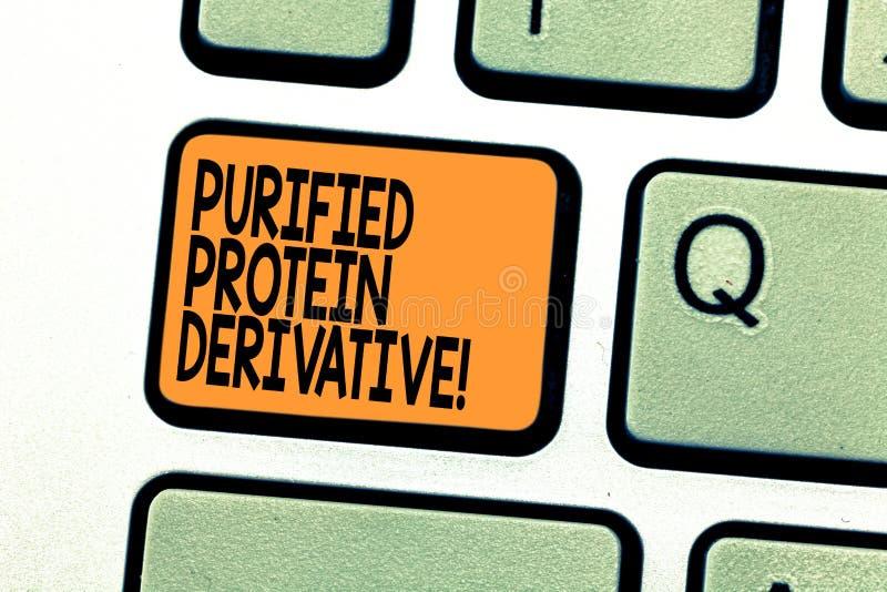 Signe des textes montrant le dérivé épuré de protéine Photo conceptuelle l'extrait de la clé de clavier de bacille de la tubercul photo libre de droits