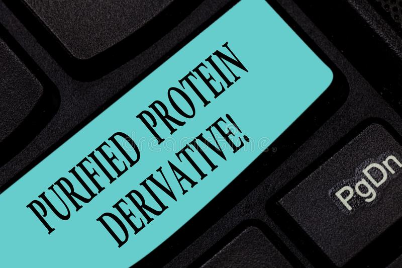 Signe des textes montrant le dérivé épuré de protéine Photo conceptuelle l'extrait de la clé de clavier de bacille de la tubercul image stock