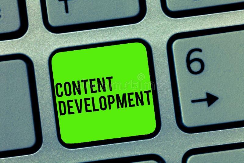 Signe des textes montrant le développement satisfait La photo conceptuelle s'est spécialisée dans la documentation de multimédia  image stock