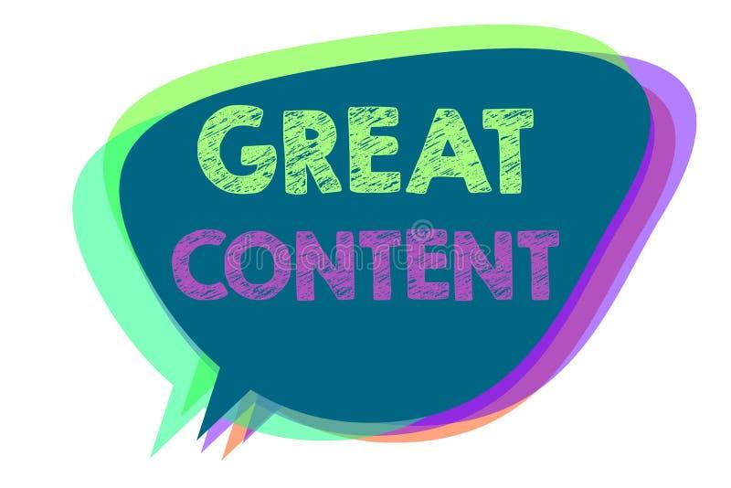 Signe des textes montrant le grand contenu Discours applicable lisible de motivation d'originalité de satisfaction conceptuelle d illustration libre de droits