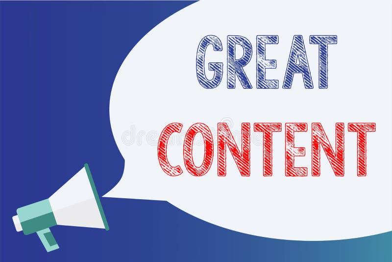 Signe des textes montrant le grand contenu Mégaphone applicable lisible de motivation d'originalité de satisfaction conceptuelle  illustration de vecteur