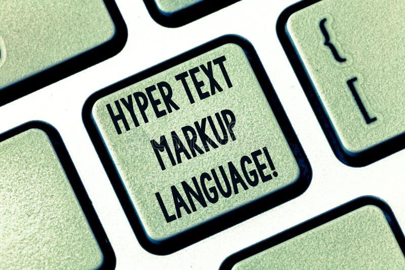 Signe des textes montrant le langage de balisage hyper des textes Langues standard de photo conceptuelle pour la création du clav photos stock