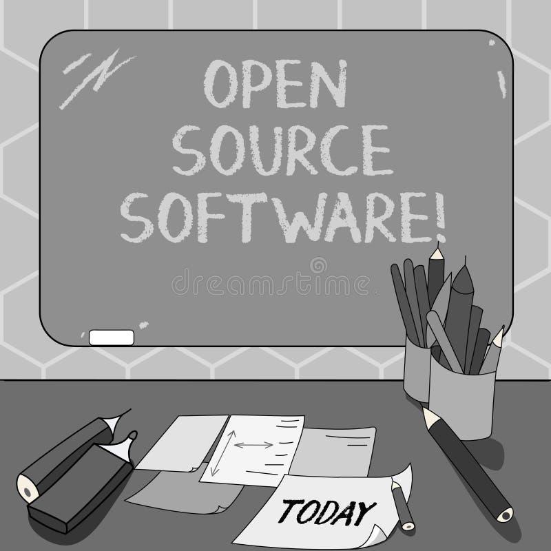 Signe des textes montrant le logiciel libre Logiciel conceptuel de photo avec le code source que n'importe qui peut modifier le b illustration stock