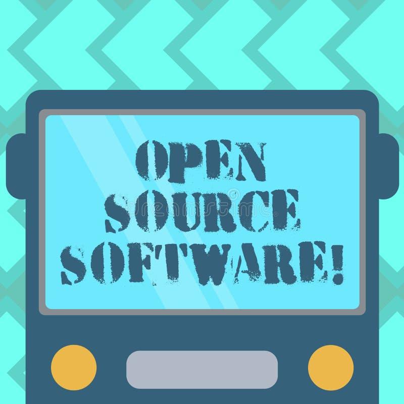Signe des textes montrant le logiciel libre Logiciel conceptuel de photo avec le code source que n'importe qui peut modifier l'ap illustration stock