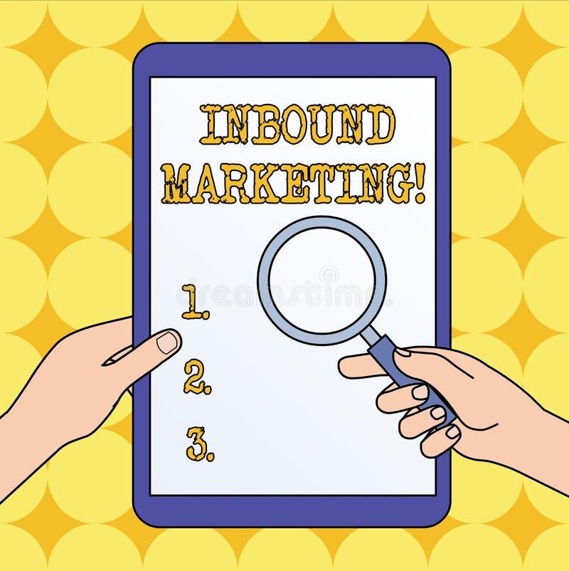 Signe des textes montrant le marketing d'arriv?e Photo conceptuelle une stratégie qui se concentre sur attirer des clients ou des illustration de vecteur