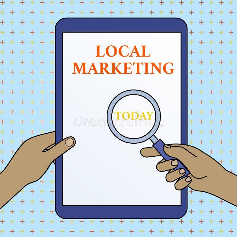Signe des textes montrant le marketing local Affaires locales conceptuelles de la photo A où un achat de produit et se vendre dan illustration stock