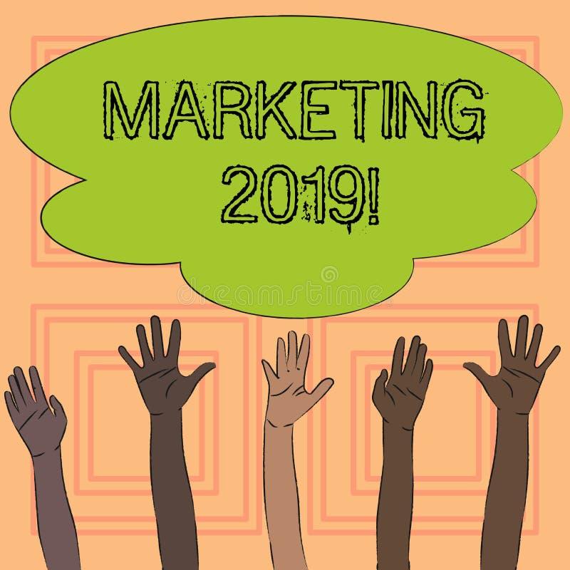 Signe des textes montrant le marketing 2019 Nouveau début conceptuel de stratégies du marché de nouvelle année de photo annonçant illustration stock