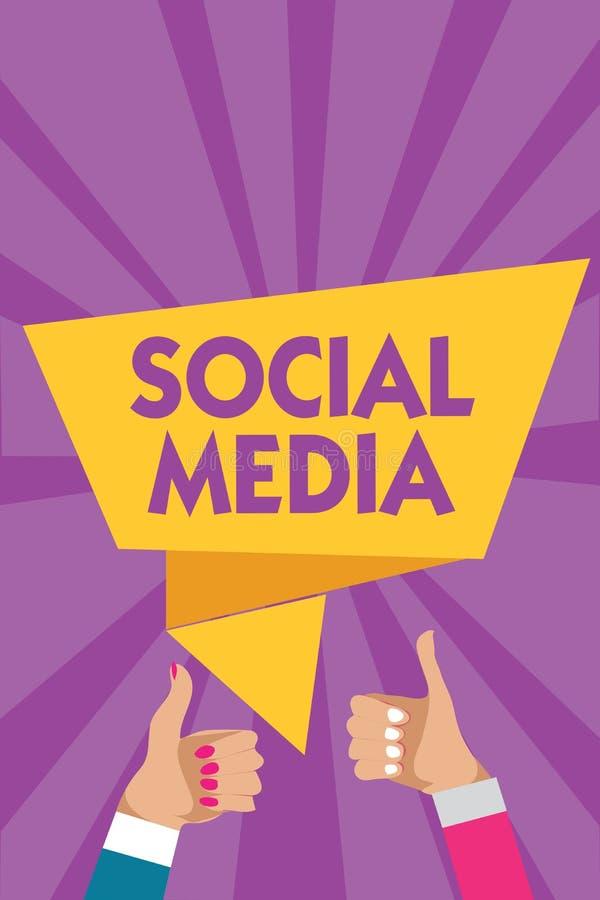 Signe des textes montrant le media social La femme en ligne d'homme de Microblogging de mise en réseau de voie de transmission de illustration de vecteur