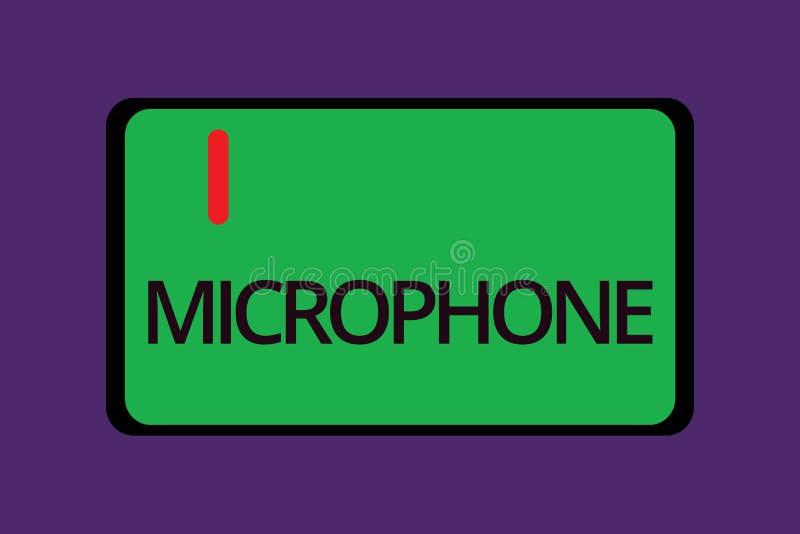 Signe des textes montrant le microphone L'instrument conceptuel de photo pour convertir le bruit salue soit transmis a enregistré illustration libre de droits