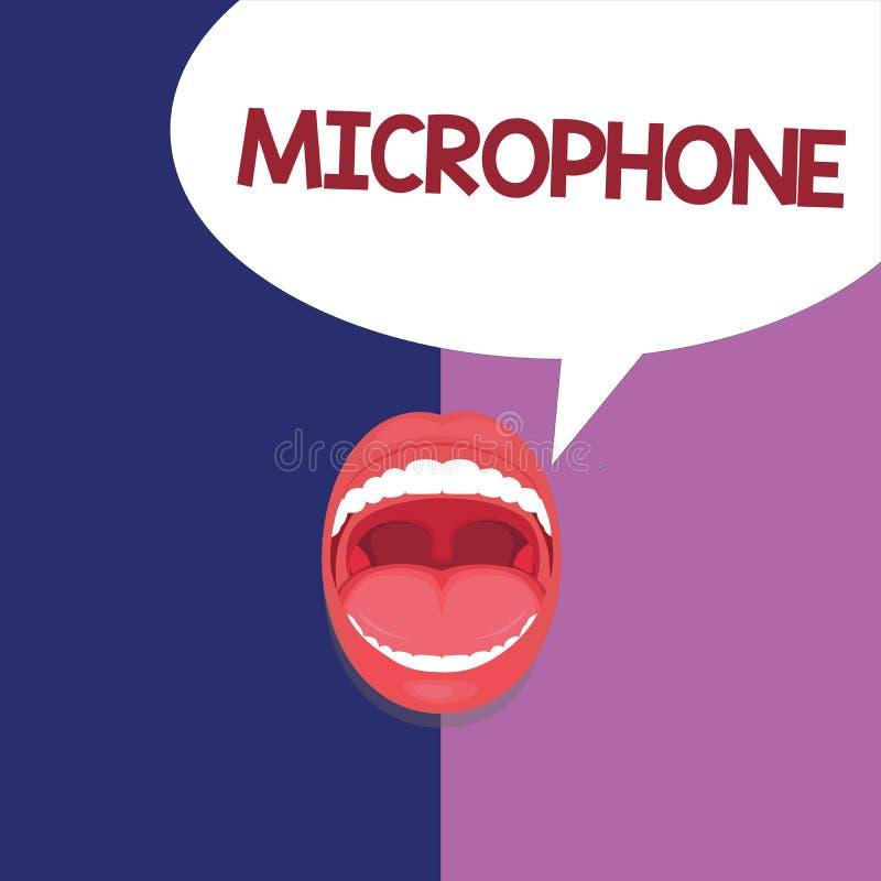 Signe des textes montrant le microphone L'instrument conceptuel de photo pour convertir le bruit salue soit transmis a enregistré illustration de vecteur