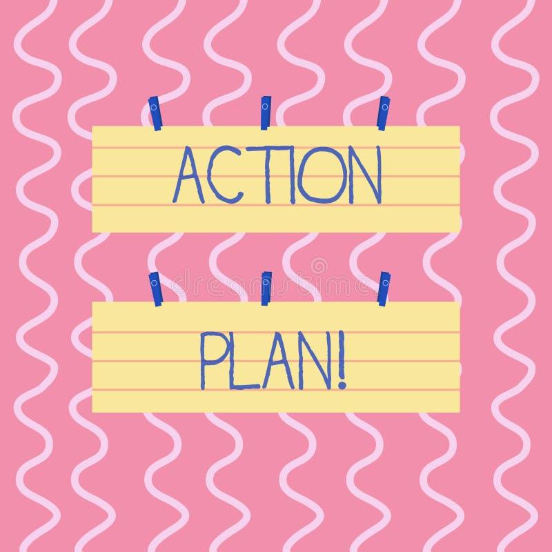 Signe des textes montrant le plan d'action Stratégie ou ligne de conduite proposée par photo conceptuelle pour certain blanc de c illustration de vecteur