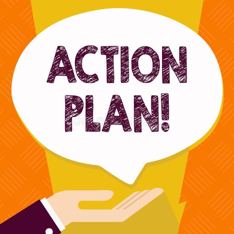 Signe des textes montrant le plan d'action Stratégie ou ligne de conduite proposée par photo conceptuelle pour certaine paume de  illustration de vecteur