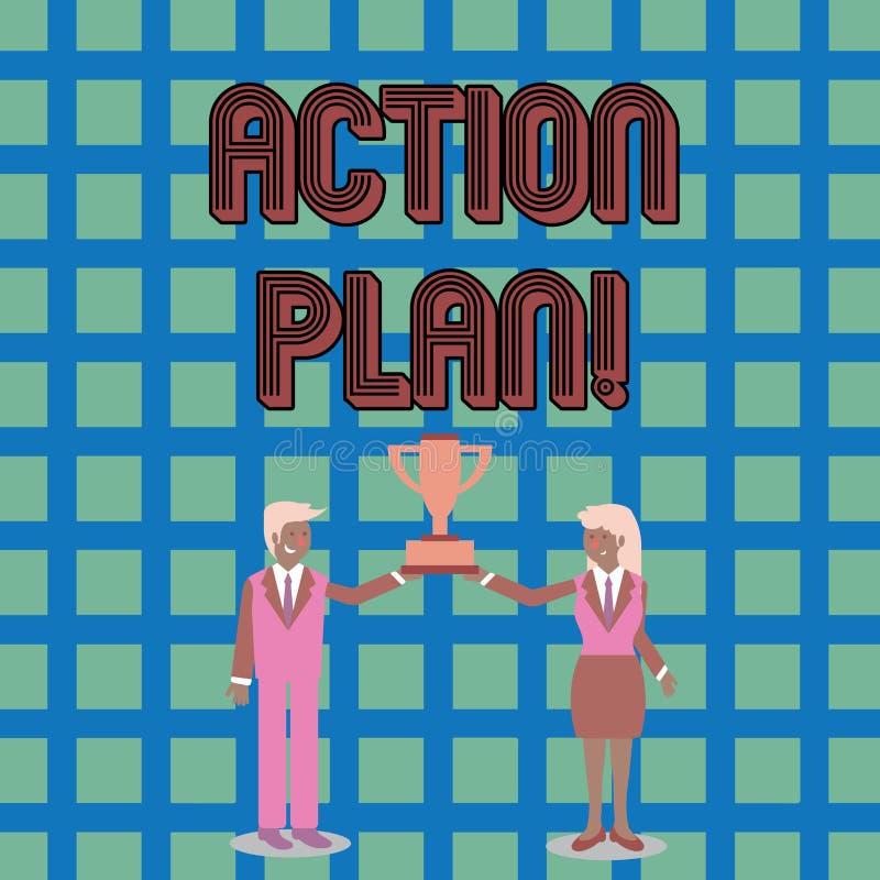 Signe des textes montrant le plan d'action Stratégie ou ligne de conduite proposée par photo conceptuelle pour le certains homme  illustration de vecteur