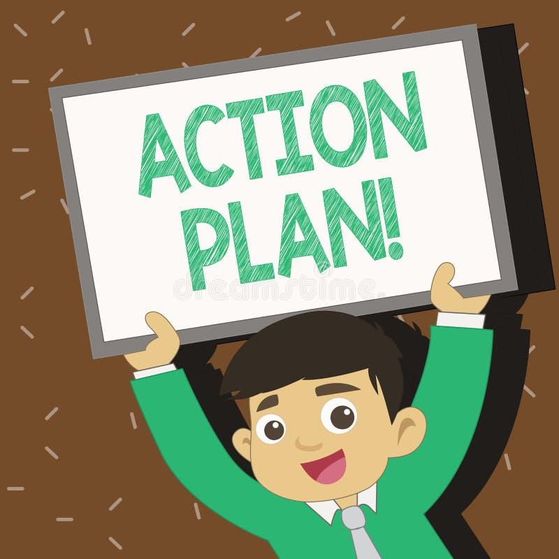 Signe des textes montrant le plan d'action Stratégie ou ligne de conduite proposée par photo conceptuelle pour le jeune sourire d illustration libre de droits