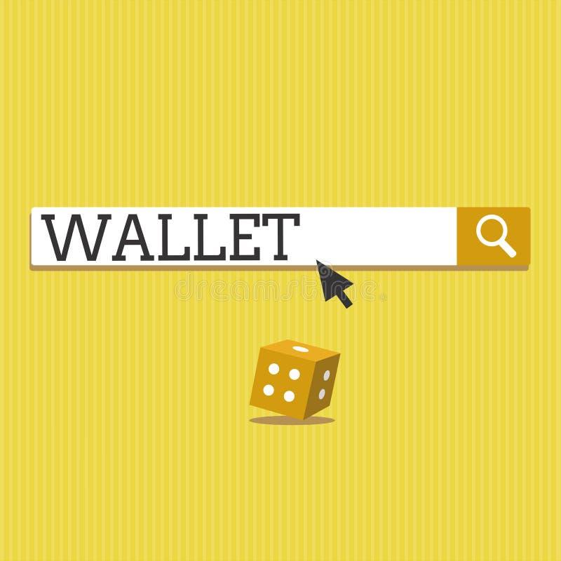 Signe des textes montrant le portefeuille Caisse se pliante plate de poche de photo conceptuelle pour tenir des cartes d'argent e illustration stock