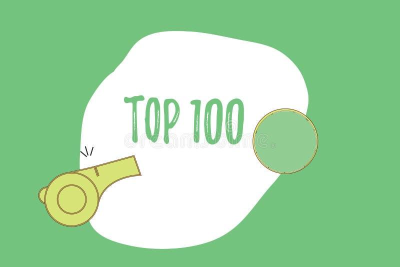 Signe des textes montrant le principal 100 La liste conceptuelle de photo des meilleurs produits entretient le haut débit populai illustration stock