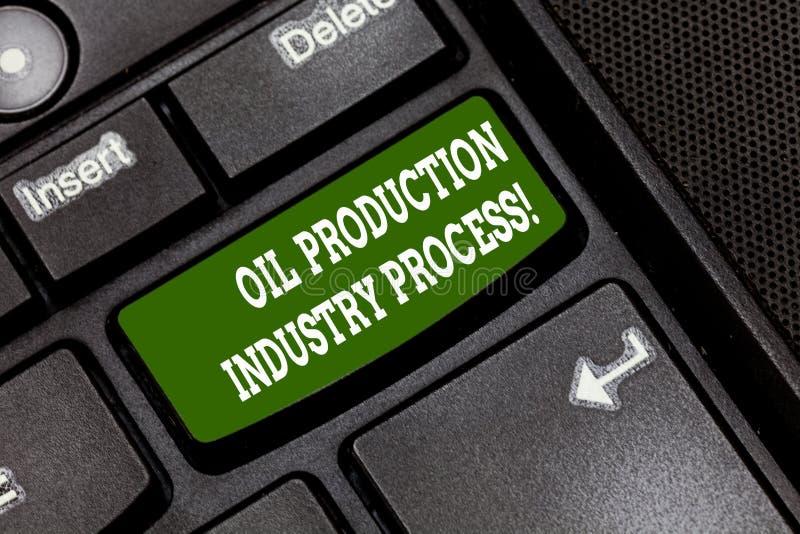 Signe des textes montrant le processus d'industrie de production de pétrole Clé de clavier conceptuelle de traitement industriel  image libre de droits
