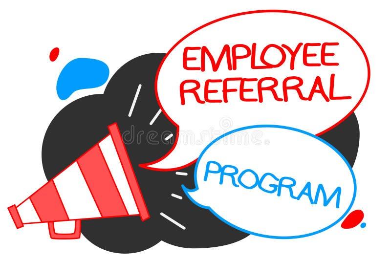Signe des textes montrant le programme de référence des employés Les employés conceptuels de photo recommandent le loudspeake qua illustration de vecteur