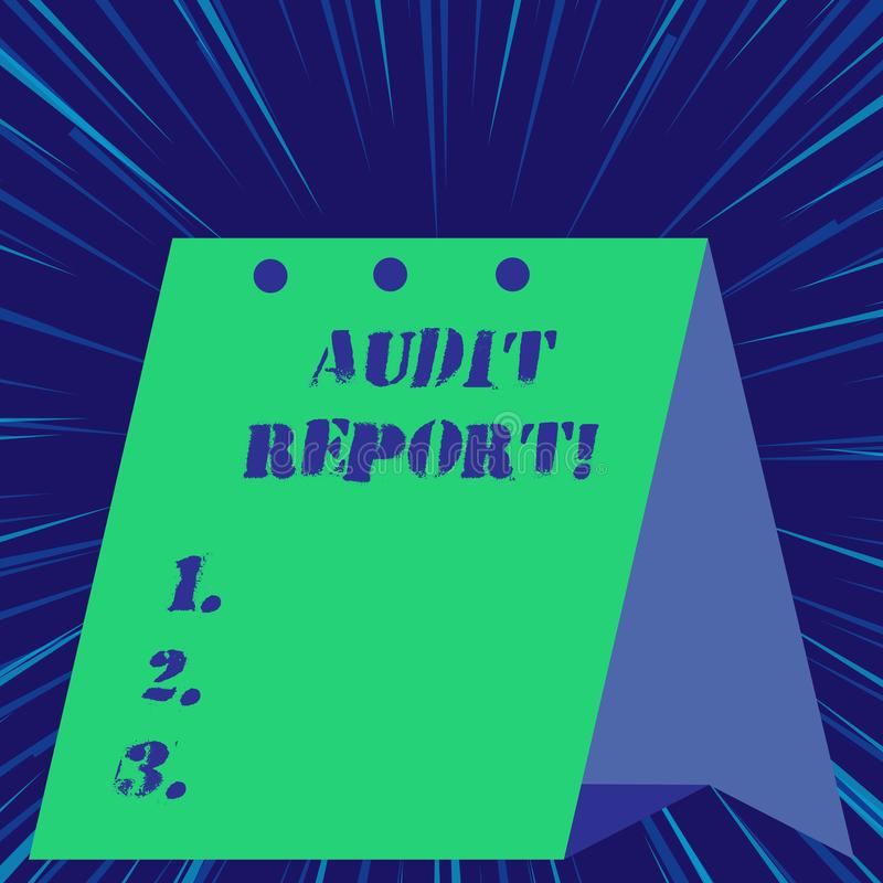 Signe des textes montrant le rapport de contr?le Opinion ?crite de photo conceptuelle d'un commissaire aux comptes au sujet de si illustration libre de droits