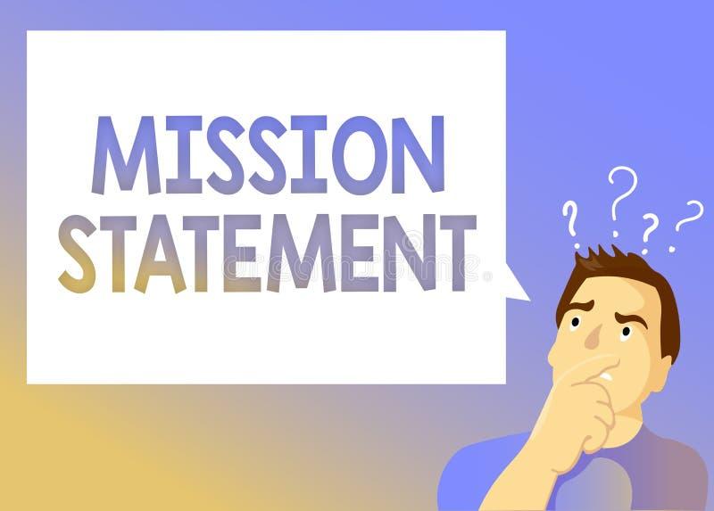 Signe des textes montrant le rapport de mission Résumé formel de photo conceptuelle des objectifs et des valeurs d'une société illustration libre de droits