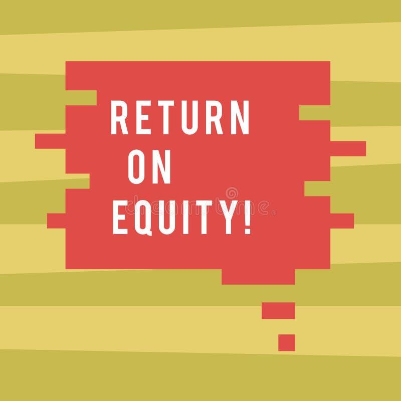 Signe des textes montrant le retour sur des capitaux propres Affaires conceptuelles de rentabilité de photo par rapport à la vale illustration libre de droits