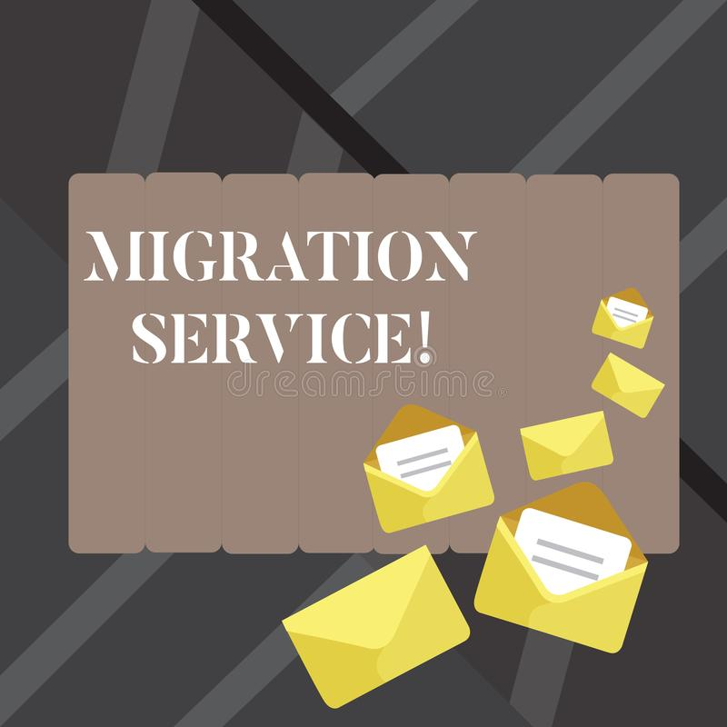 Signe des textes montrant le service de migration Différents vendeurs de nuage de décalage conceptuel de photo sans exécution fer illustration libre de droits