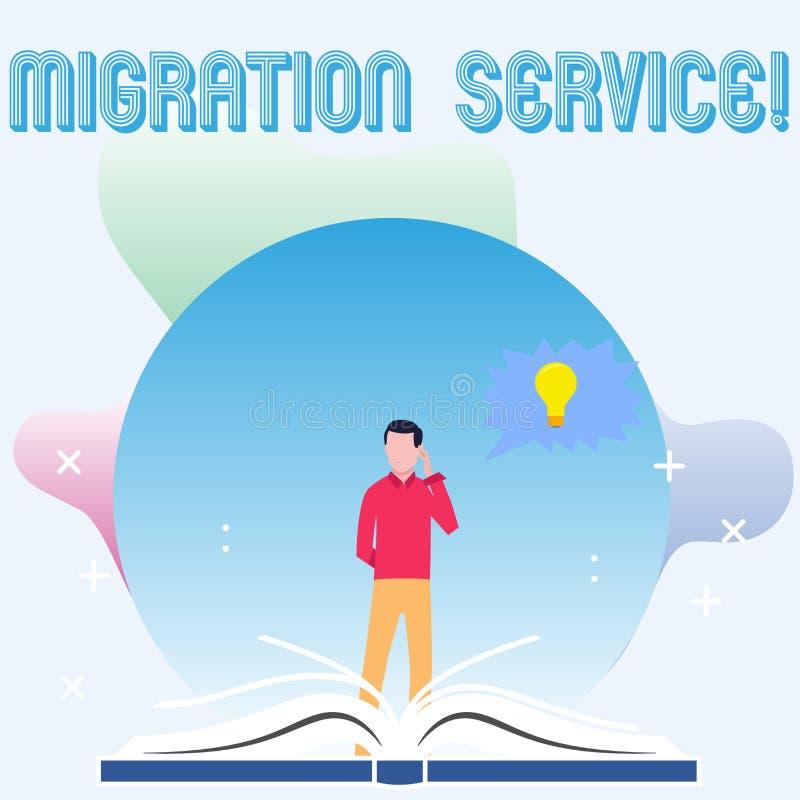 Signe des textes montrant le service de migration Différents vendeurs de nuage de décalage conceptuel de photo sans position d'ho illustration libre de droits