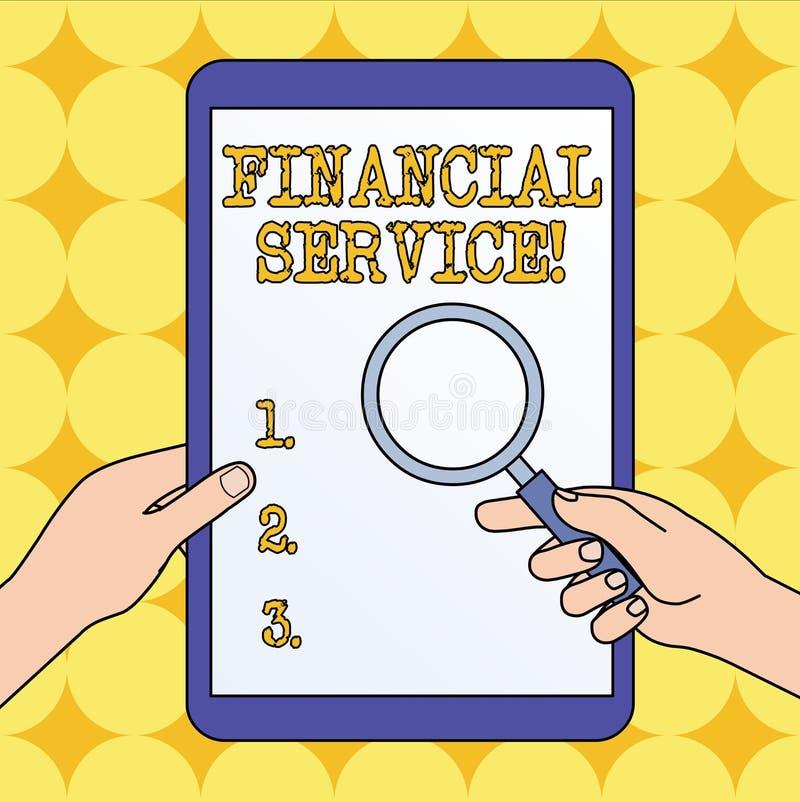 Signe des textes montrant le service financier Services économiques de photo conceptuelle fournis par l'exploitation de mains d'i illustration de vecteur
