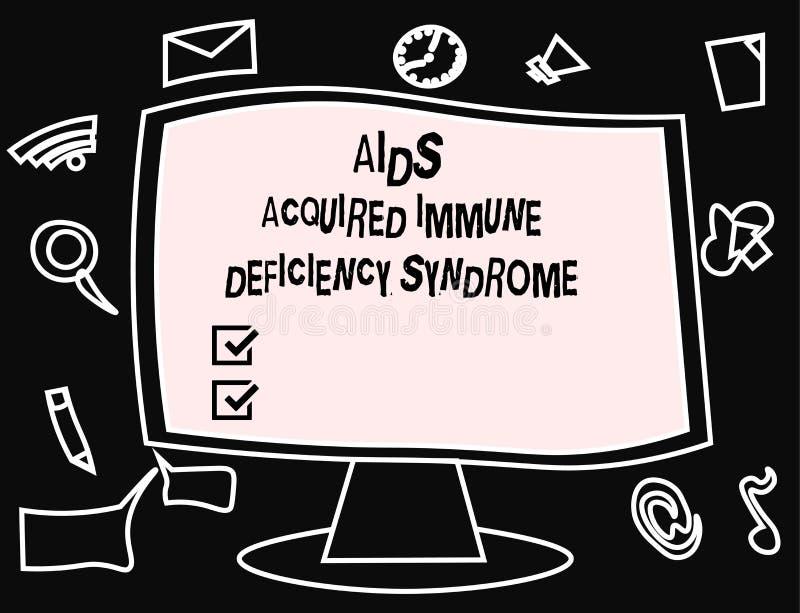 Signe des textes montrant le syndrome d'immunodéficience acquise de SIDA Étape sérieuse de photo conceptuelle de la maladie d'HIV illustration de vecteur