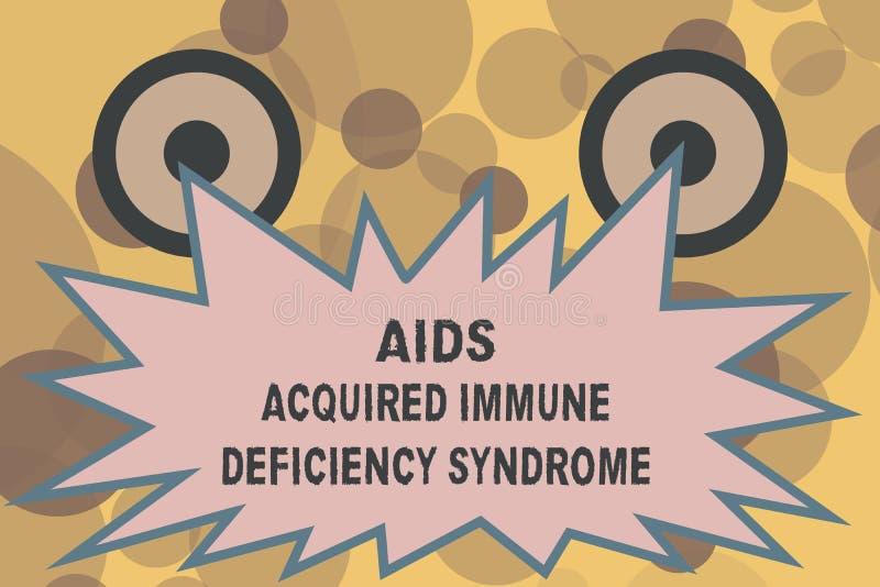 Signe des textes montrant le syndrome d'immunodéficience acquise de SIDA Étape sérieuse de photo conceptuelle de la maladie d'HIV illustration libre de droits