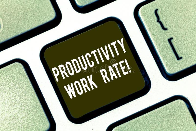 Signe des textes montrant le taux de travail de productivité Évaluation conceptuelle de photo de l'efficacité d'un groupe ou d'un images libres de droits