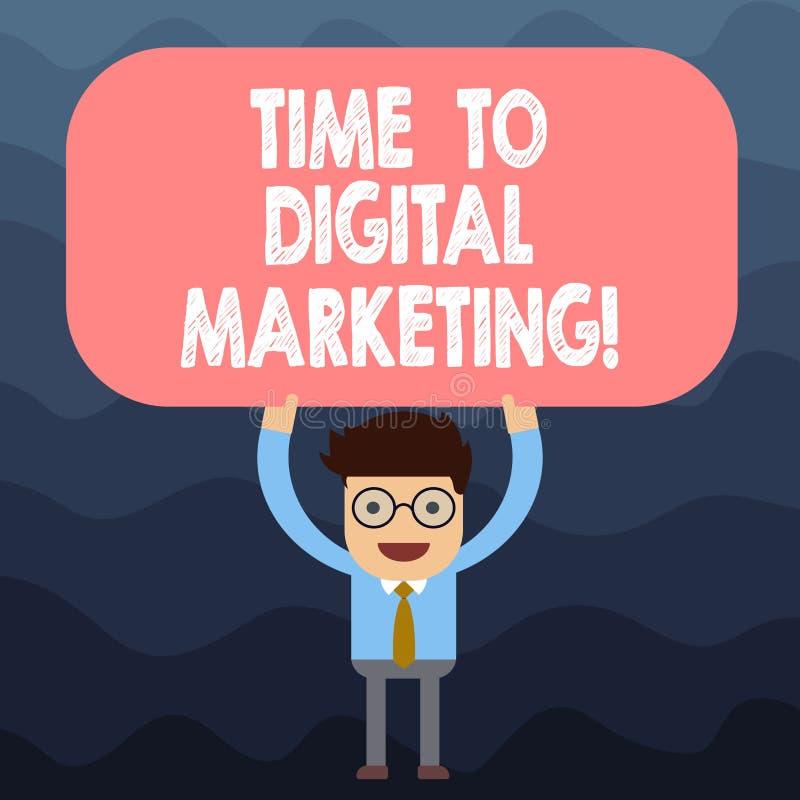 Signe des textes montrant le temps au marketing de Digital E illustration libre de droits