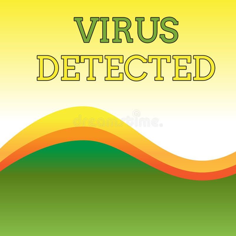 Signe des textes montrant le virus d?tect? Le programme informatique conceptuel de la photo A pour empêcher et enlever l'abrégé s illustration de vecteur