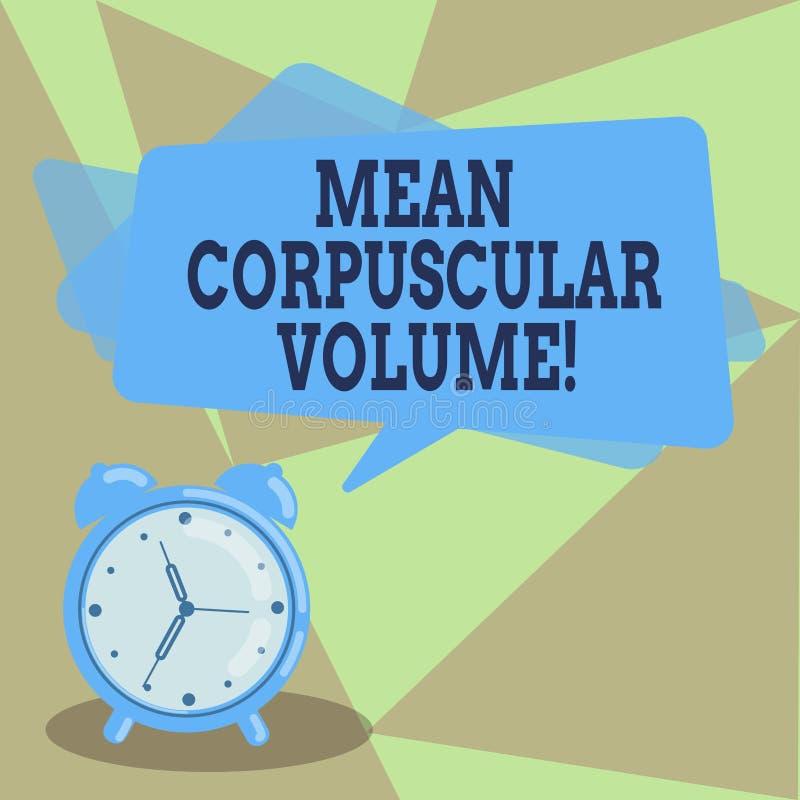 Signe des textes montrant le volume corpusculaire moyen Le volume moyen de photo conceptuelle d'une mesure rouge de corpuscule de illustration de vecteur
