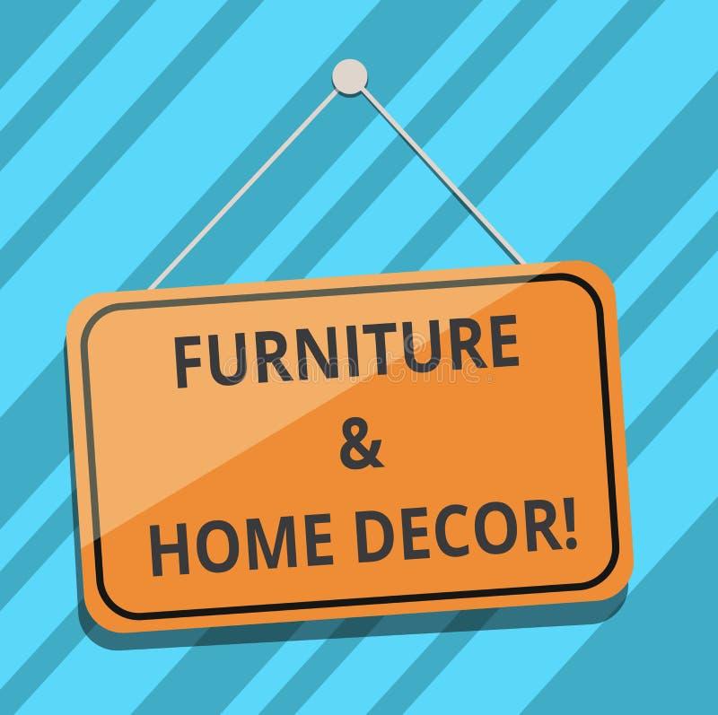 Signe des textes montrant les meubles et le décor à la maison Couleur accrochante de photo de conception intérieure de maison de  illustration de vecteur