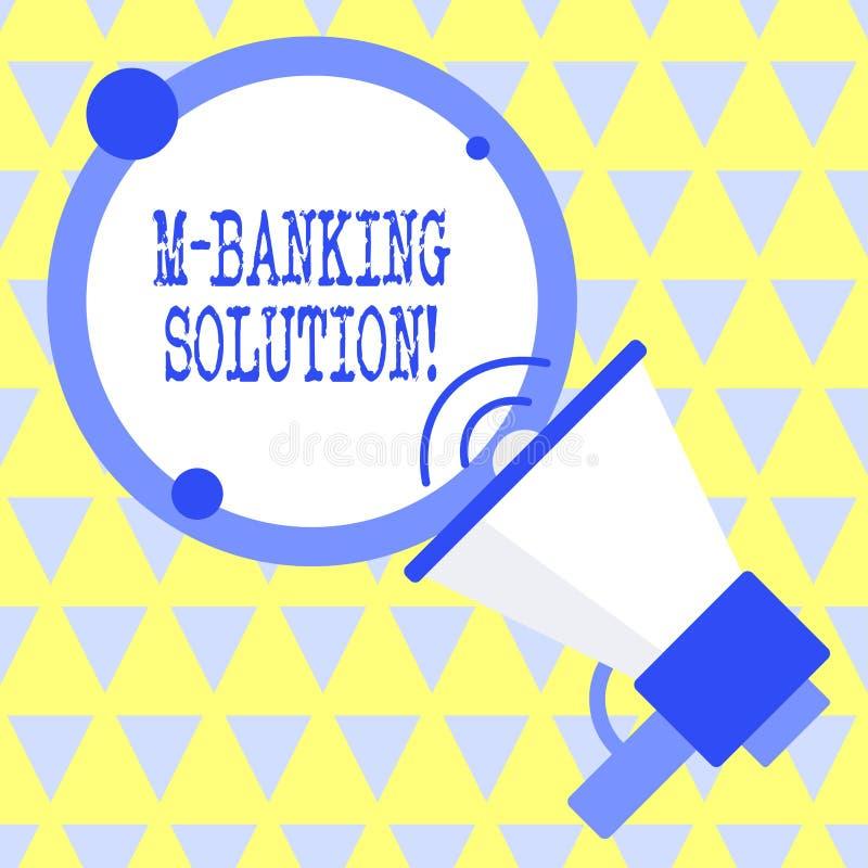 Signe des textes montrant M Banking Solution La photo conceptuelle a acc?d? ? des op?rations bancaires par une application sur le illustration libre de droits