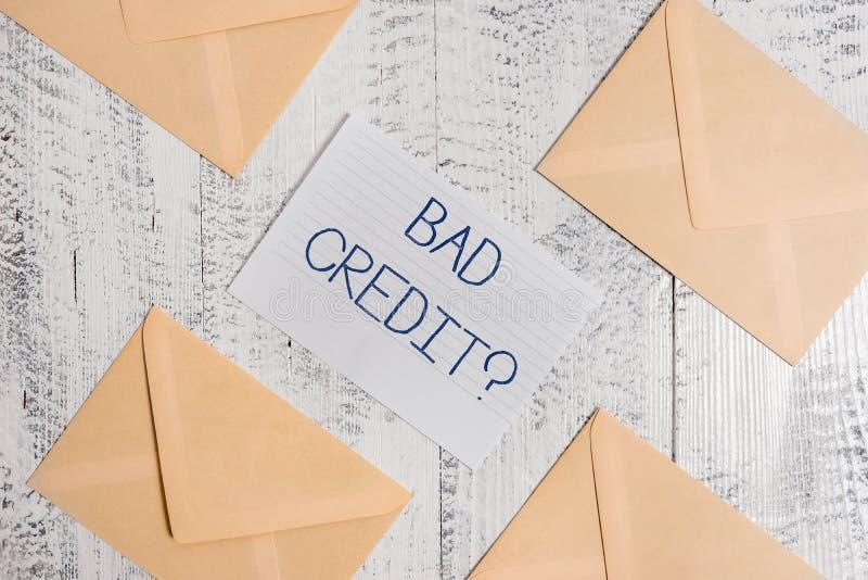 Signe des textes montrant mauvais Creditquestion Inabilityof conceptuel a de photo démontrant pour rembourser une dette à l'heure photos stock
