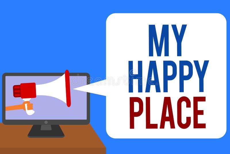 Signe des textes montrant mon endroit heureux L'espace conceptuel de photo où vous sentez l'homme inspiré décontracté heureux con images libres de droits