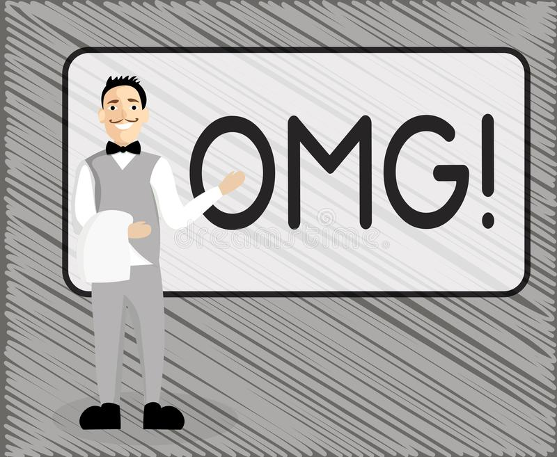 Signe des textes montrant Omg La photo conceptuelle employée pour exprimer l'incrédulité SMS d'excitation de choc a raccourci l'e illustration stock