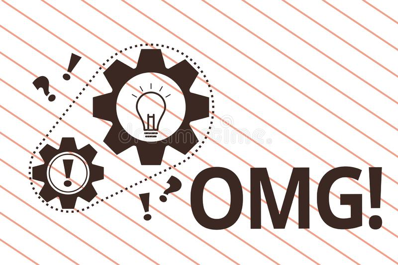 Signe des textes montrant Omg La photo conceptuelle employée pour exprimer l'incrédulité SMS d'excitation de choc a raccourci l'e illustration de vecteur