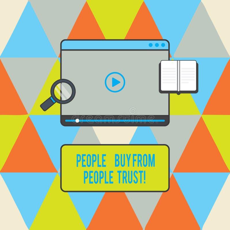 Signe des textes montrant des personnes pour acheter des personnes elles font confiance à la Tablette de construction de confianc illustration libre de droits