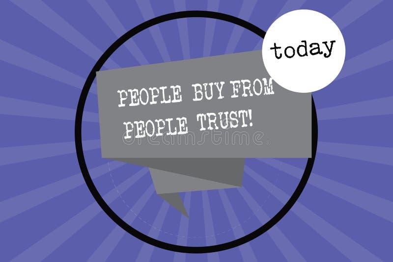 Signe des textes montrant des personnes pour acheter des personnes qu'elles font confiance que la confiance de construction et la illustration libre de droits